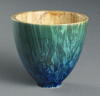 Box elder burl bowl dyed blue-green